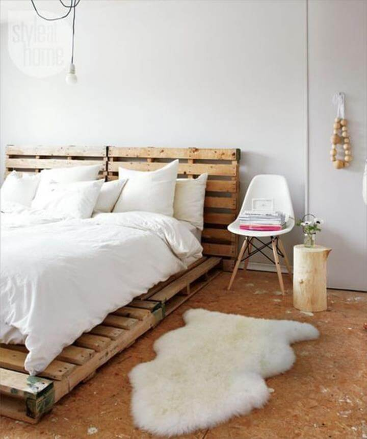 rustic pallet platform bed with headboard