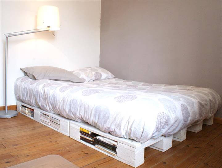 white pallet platform bed with storage