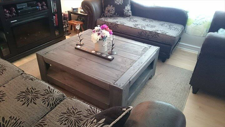 ... rustic furniture from reclaimed pallets boards as coffee table