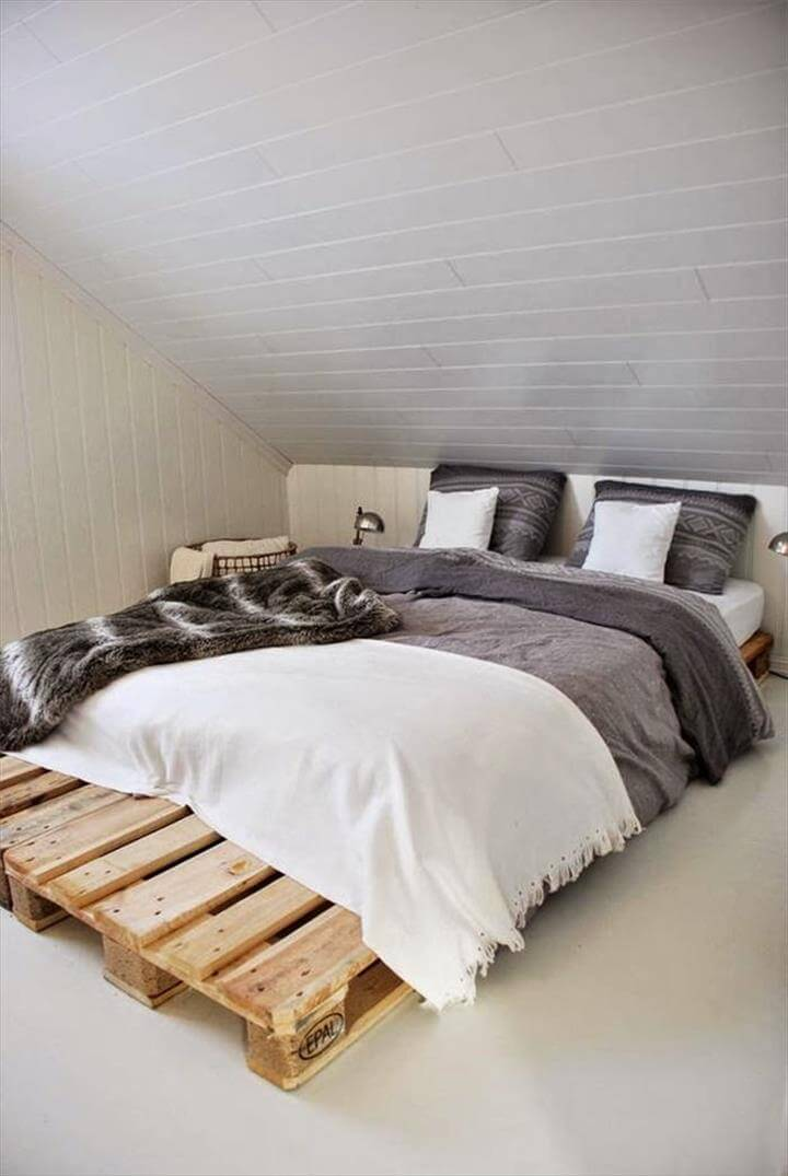 42 diy recycled pallet bed frame designs. Black Bedroom Furniture Sets. Home Design Ideas