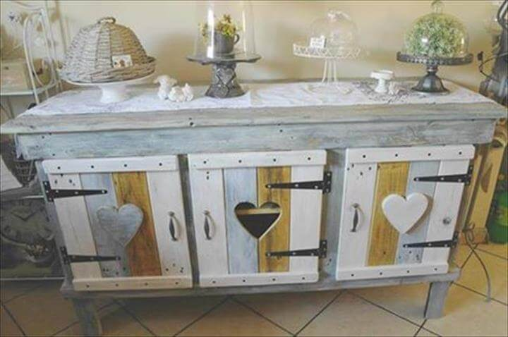 Diy pallet sideboard or kitchen cabinet for Kitchen units made from pallets