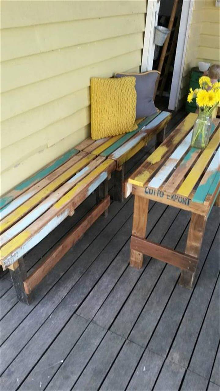 recycled pallet patio table with benches breakfast set furniture