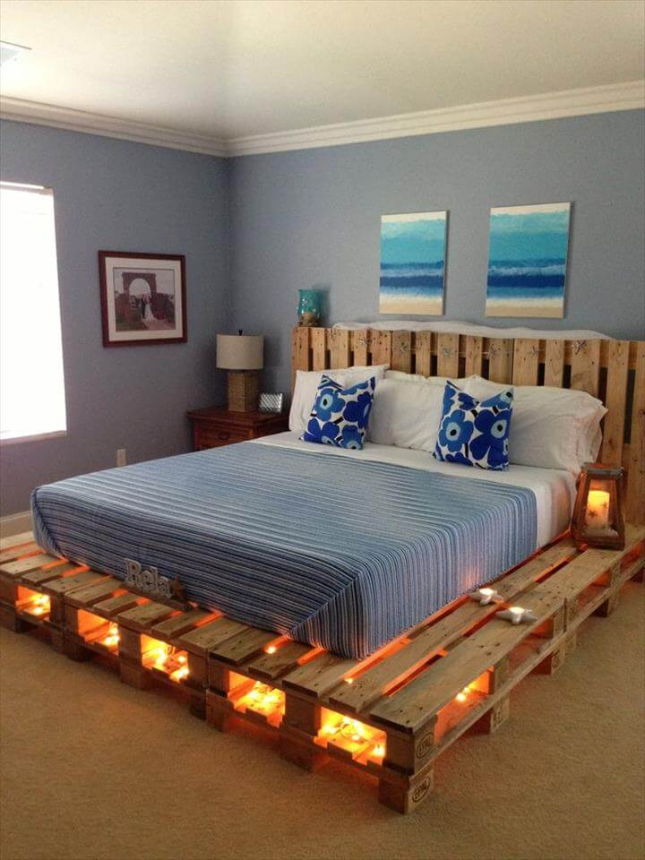wooden pallet platform bed with lights