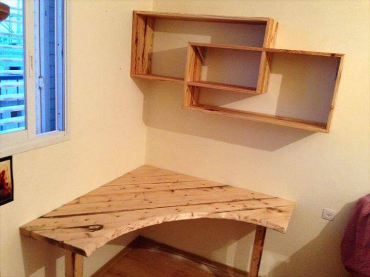 recycled pallet sectional desk with shelves
