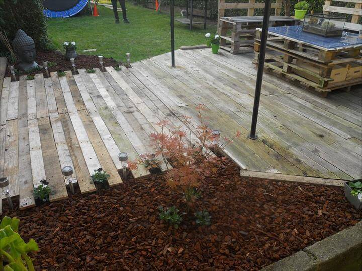 Diy pallet patio furniture pallet deck for How to make a pallet deck