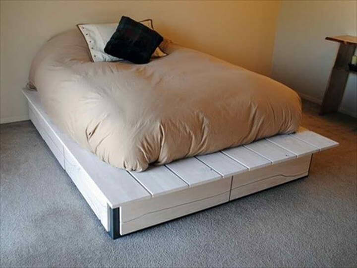 white pallet platform bed design