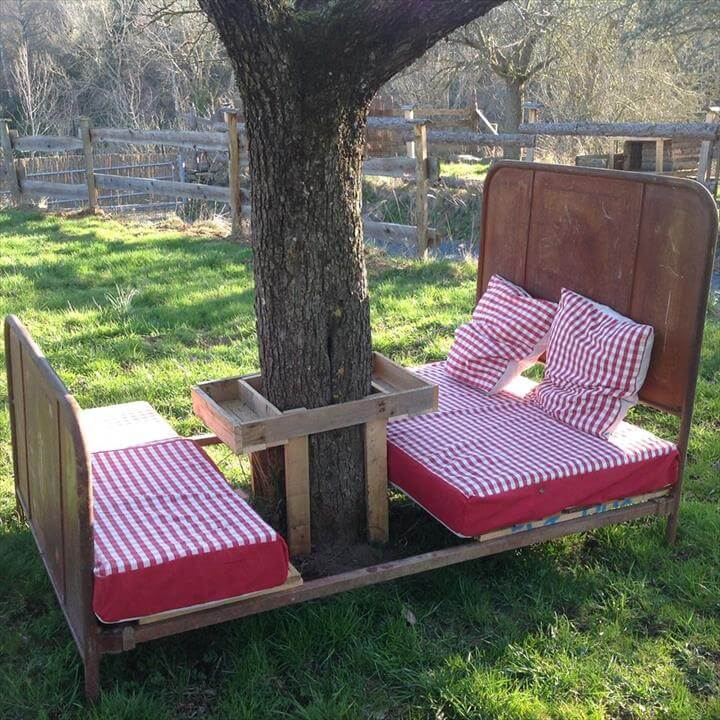 diy pallet and old bed garden furniture
