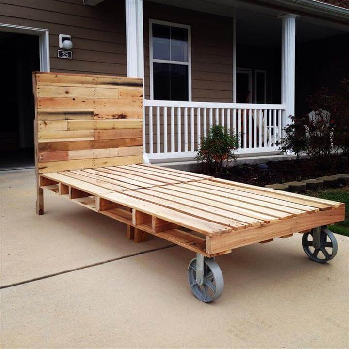 ... bed frame with headboard, raised on cart wheels, DIY pallet bed frame