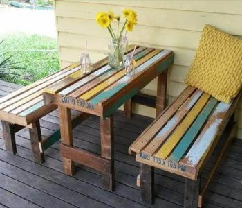 reclaimed pallet breakfast table with benches