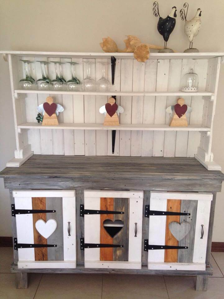 reclaimed pallet sideboard or kitchen cabinet