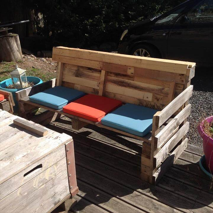 DIY Wooden Pallet Patio Furniture Set DIY Beefy Pallet Benches and ...