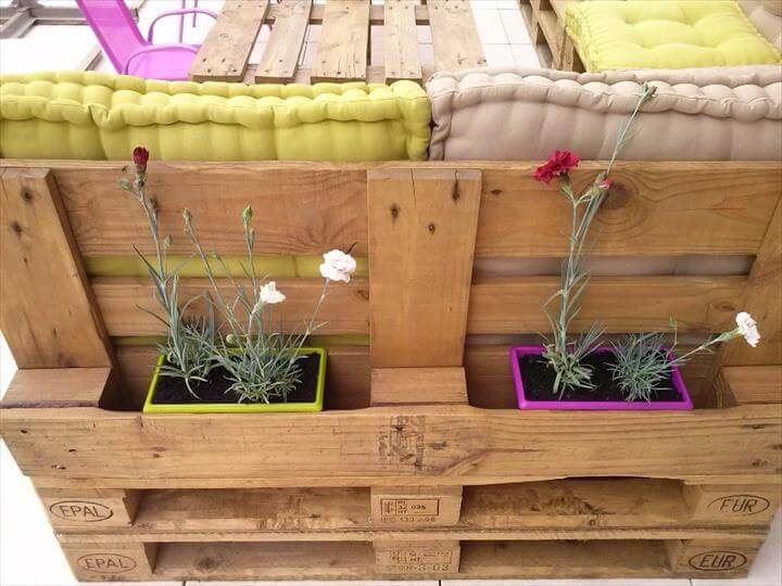 upcycled pallet sofa with planter