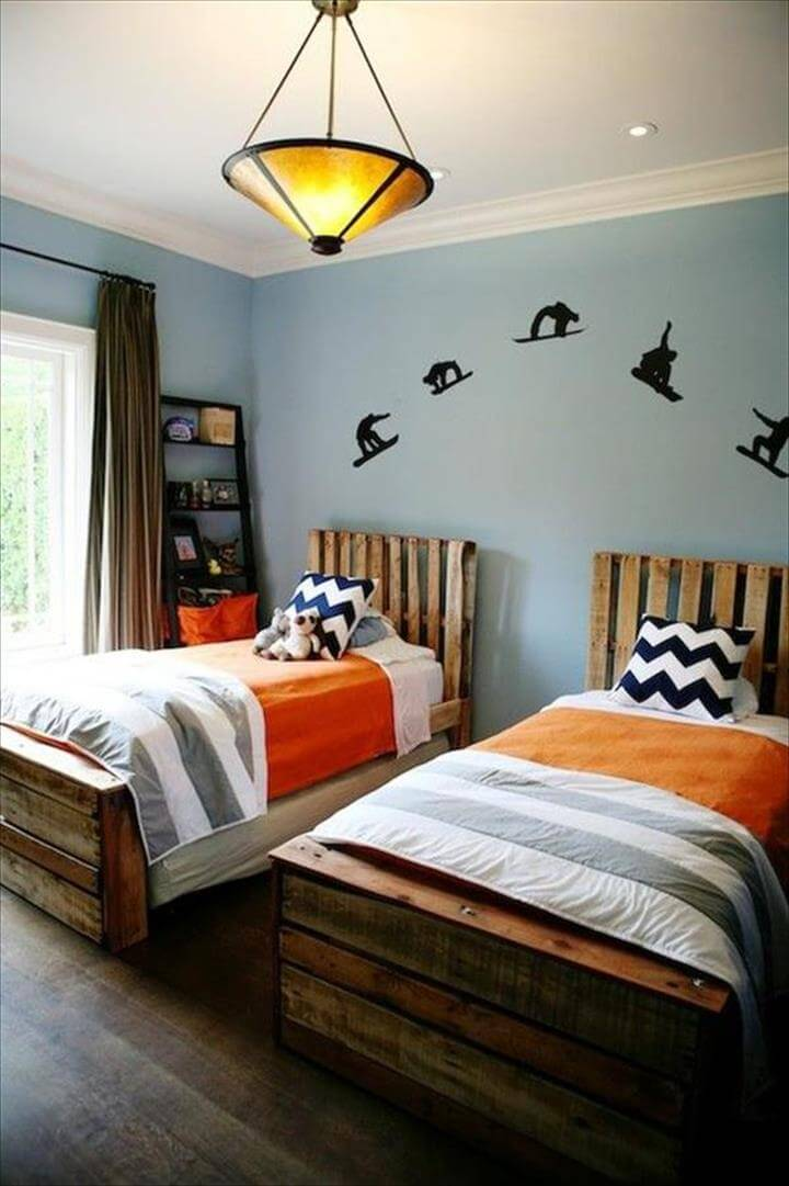 42 diy recycled pallet bed frame designs for Twin bed frame