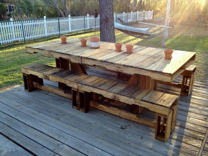 ... summer night dinners with pallets! DIY pallet dining furniture plans