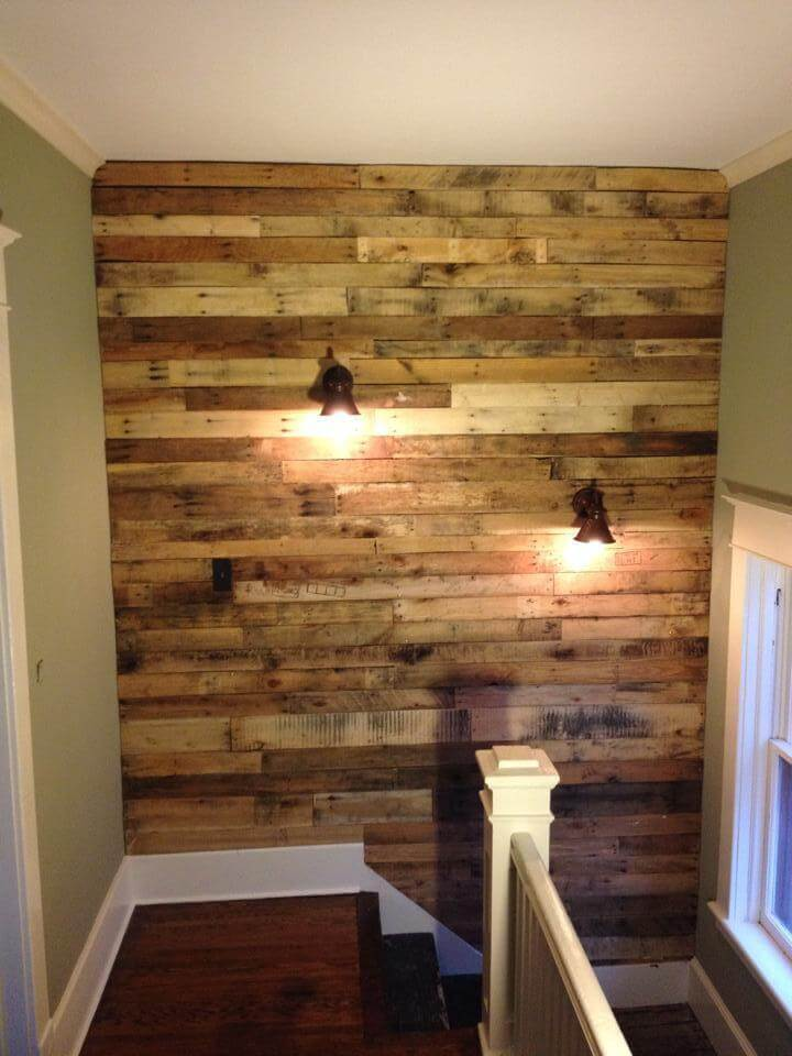 Wood Designs For Walls planks Diy Pallet Wall For Upstairs With Lights