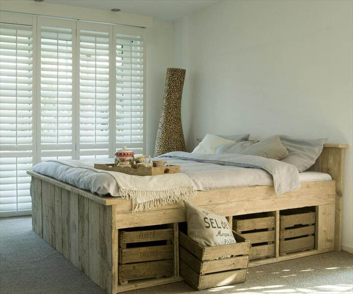 salvaged pallet bed with storage