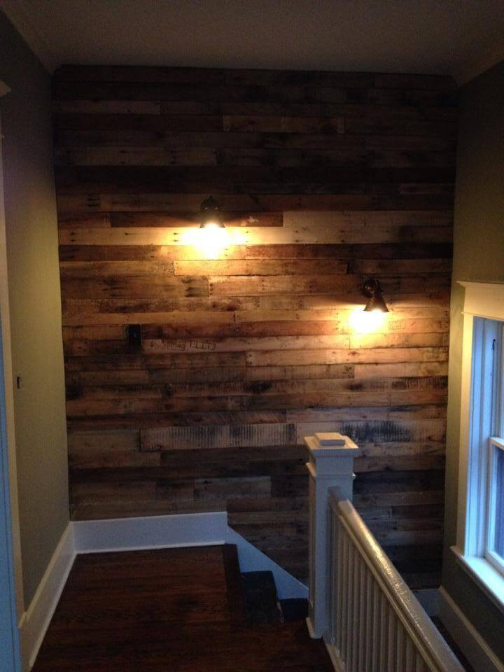 Diy Pallet Wall For Upstairs With Lights 101 Pallet Ideas
