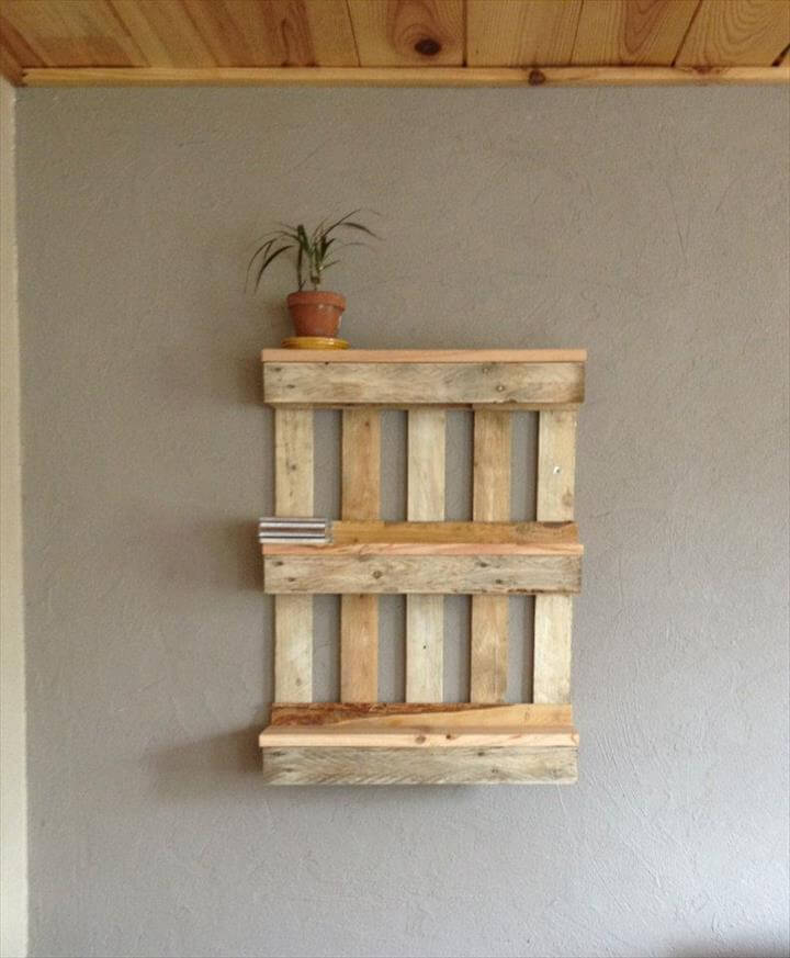 handmade pallet wall shelf