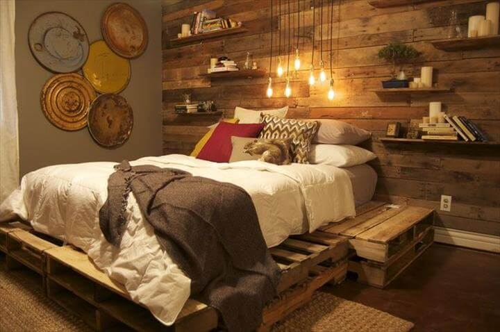 antique pallet bed with decorative headboard wall