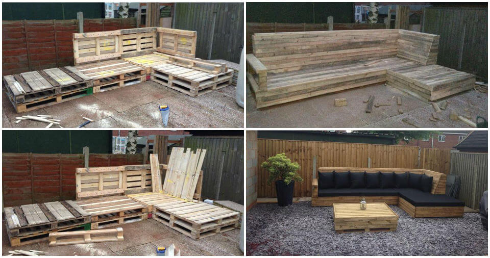 Pallet L-Shaped Sofa for Patio / Couch