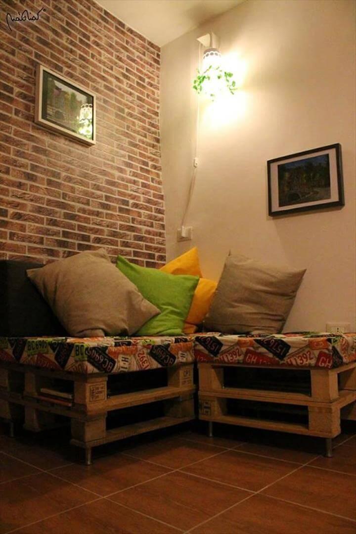 repurposed pallet backless corner sofa