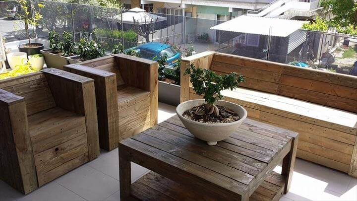 Pallet garden furniture for Terrace chairs