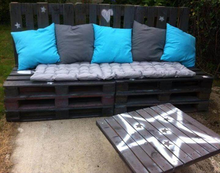 white storage friendly pallet sofa with cushion