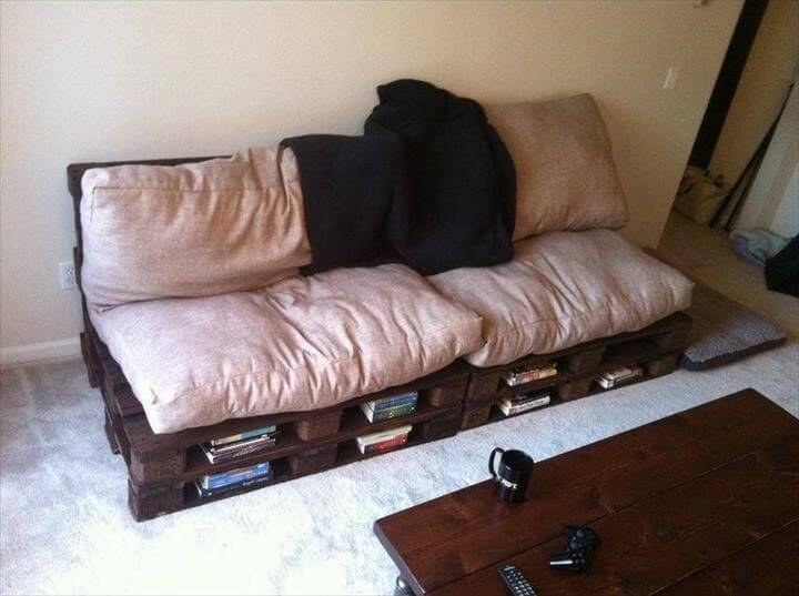 rustic yet modern pallet storage friendly sofa with cushion