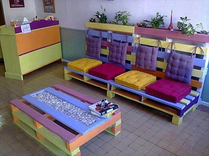 pallet colorful whole pallet sofa and coffee table