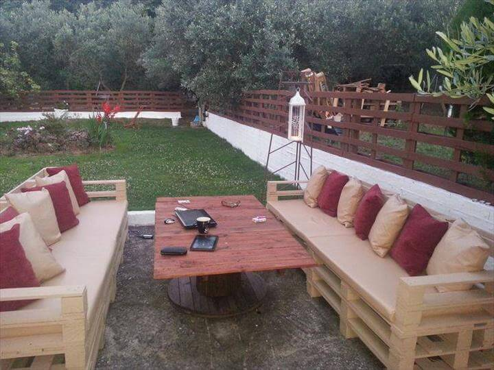 extra long whole pallet patio sofas