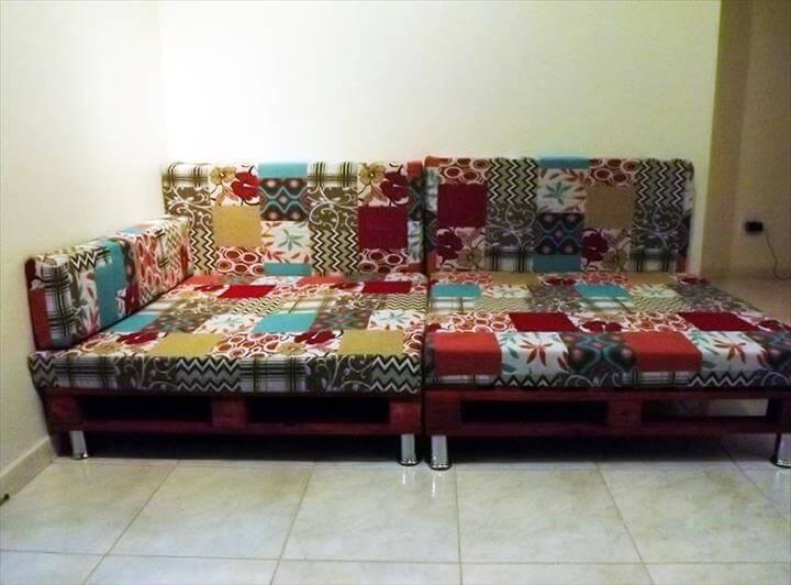 repurposed pallet cushioned sofa with short metal legs
