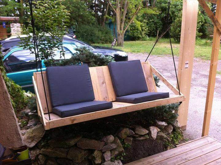 recycled pallet sofa swing