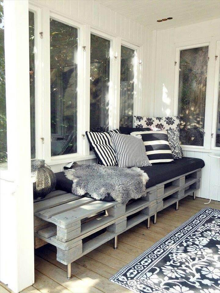 grey painted pallet board sofa