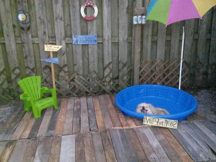 recycled pallet doggie pool