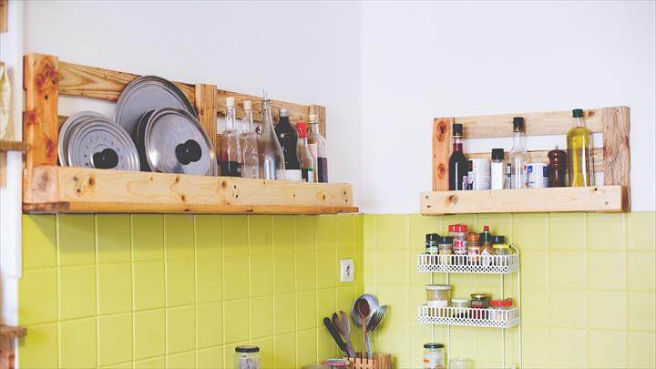 Simple pallet shelves for walls for Kitchen ideas using pallets