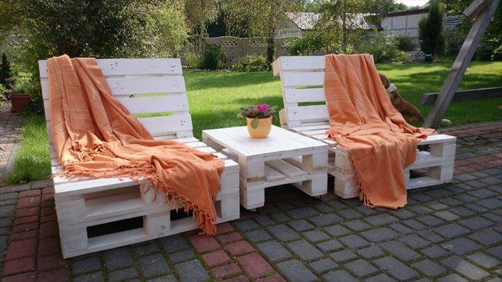 White pallet outdoor loungers with table - Naturewood furniture for both indoor and outdoor sitting ...