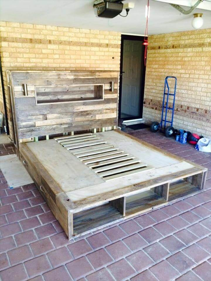 recycled pallet platform bed
