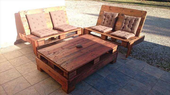... set patio furniture diy pallet garden and patio furniture set
