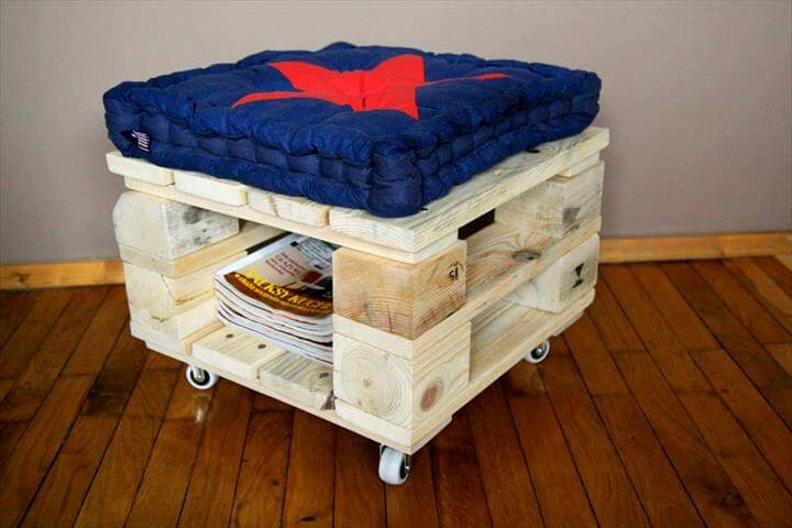 Wood Pallet Ottoman With Blue Cushion
