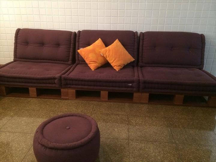 repurposed pallet sofa with cushioned seats