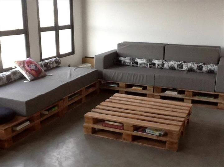 DIY Storage-Friendly Pallet Sectional Sofa: