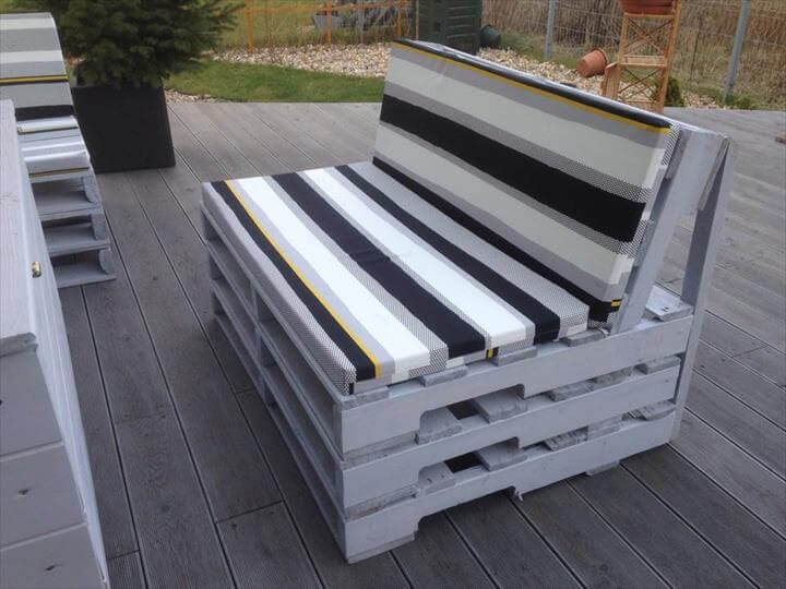 upcycled pallet terrace furniture with cushion