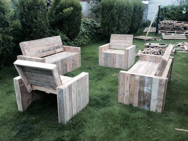 Garden Furniture Handmade diy beefy pallet benches and chairs