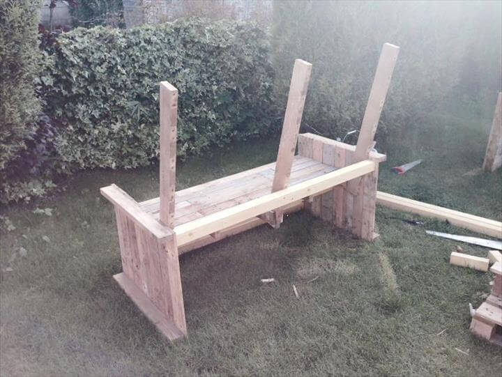 upcycled pallet patio bench construction