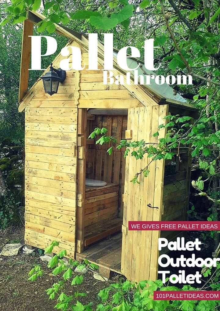 Pallet outdoor toilet pallet bathroom for Outhouse bathroom ideas