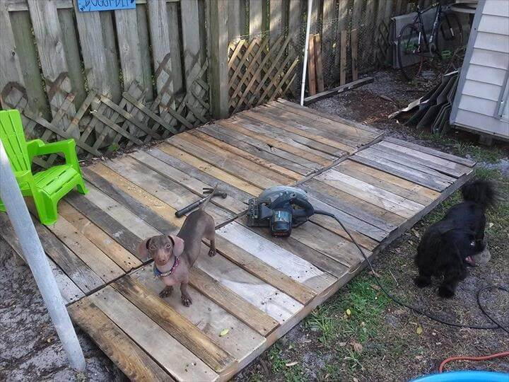 handcrafted pallet doggie pool