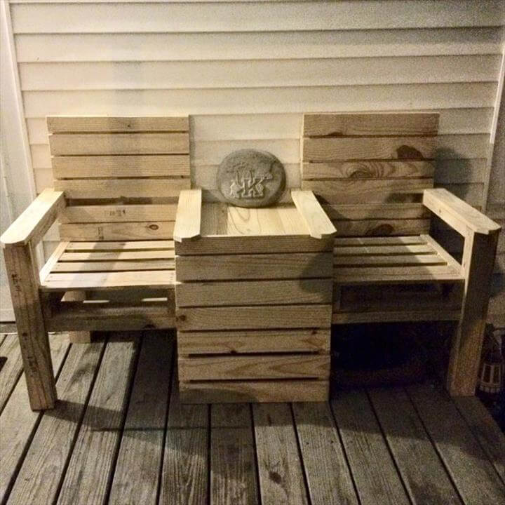 DIY Wood Pallet Patio Furniture · Wood Pallet Outdoor Bench – Double Chair!