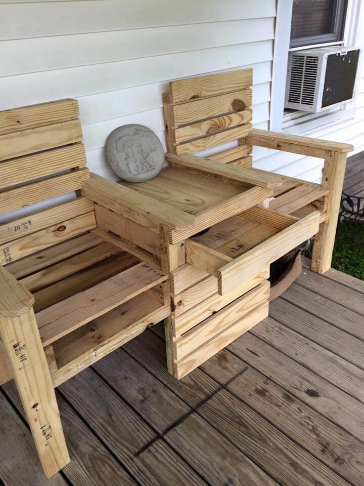 Wood Pallet Outdoor Bench Double Chair