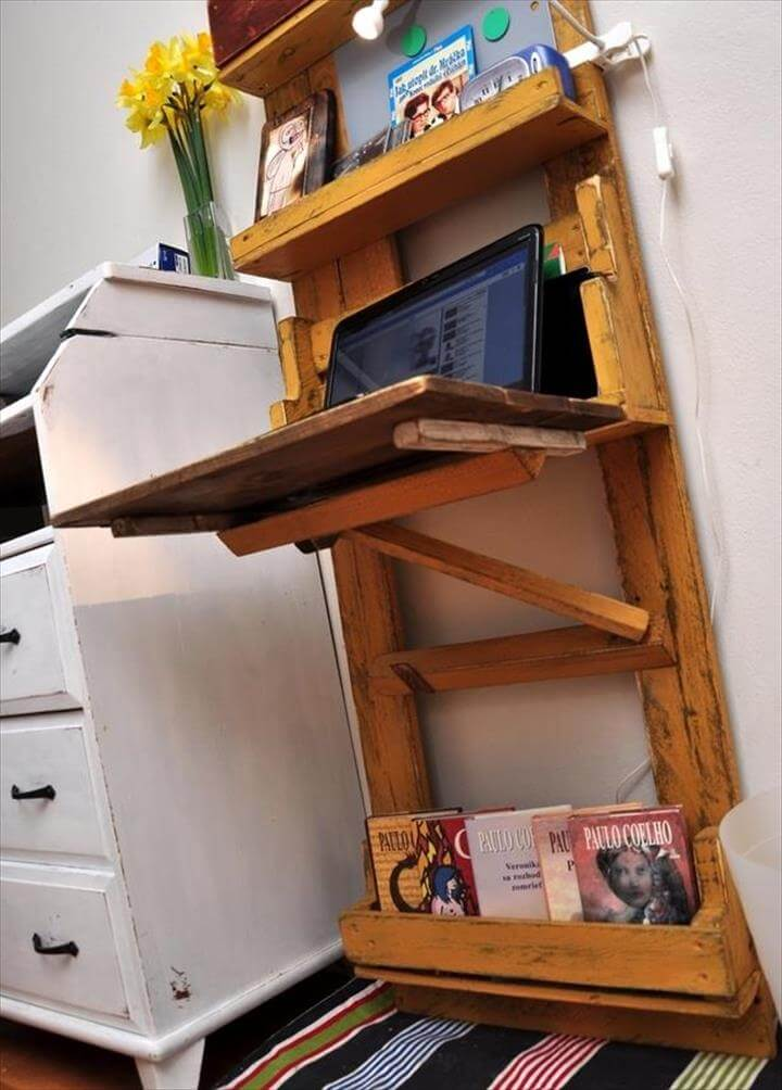recycled pallet wall mounted computer desk and shelf