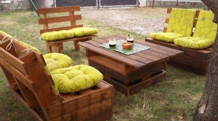 easy-to-build pallet garden sitting furniture